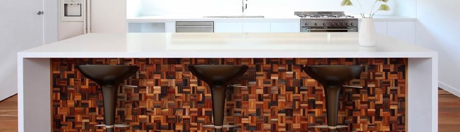 Silva sophisticated polished timber wall cladding by Renaza expresses itself in this kitchen interior