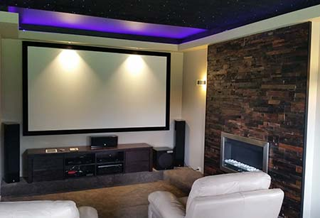 Media Room Acoustic Wall - Renaza Reclaimed Timber Tiles