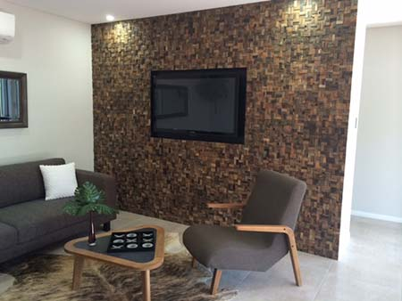 RUS 306 TV Wall Acoustic. A stylish mosaic timber wall tile acoustic solution with a sophisticated and stylish finish.