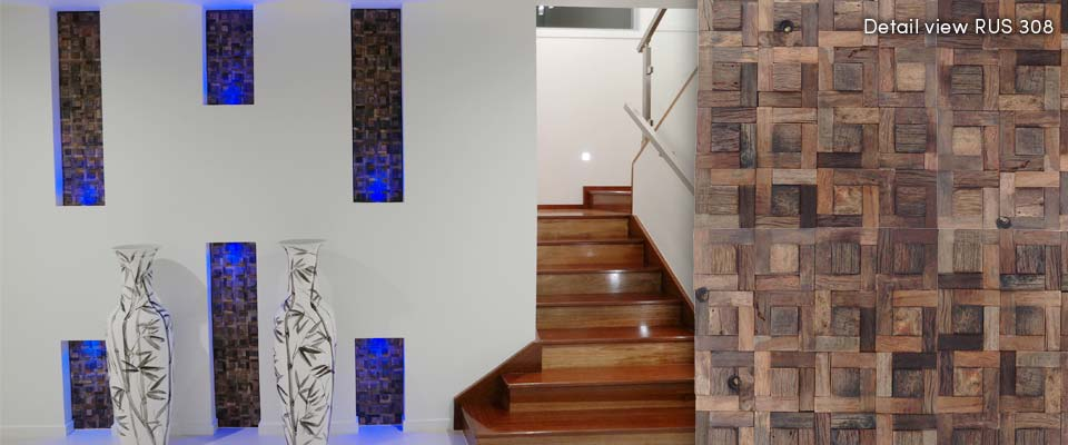 Inset Feature Wall | RUS 308 | Renaza Reclaimed Timber Tiles