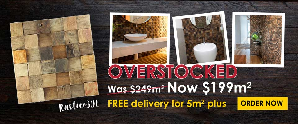 Overstocked on Rustico 302. Was $249 per square metre, now $199 per square metre, and FREE delivery for 5 square metres or more