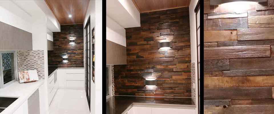 Stunning Kitchen Feature Wall | RUS 601 Interlock | Renaza Reclaimed Wooden Tiles