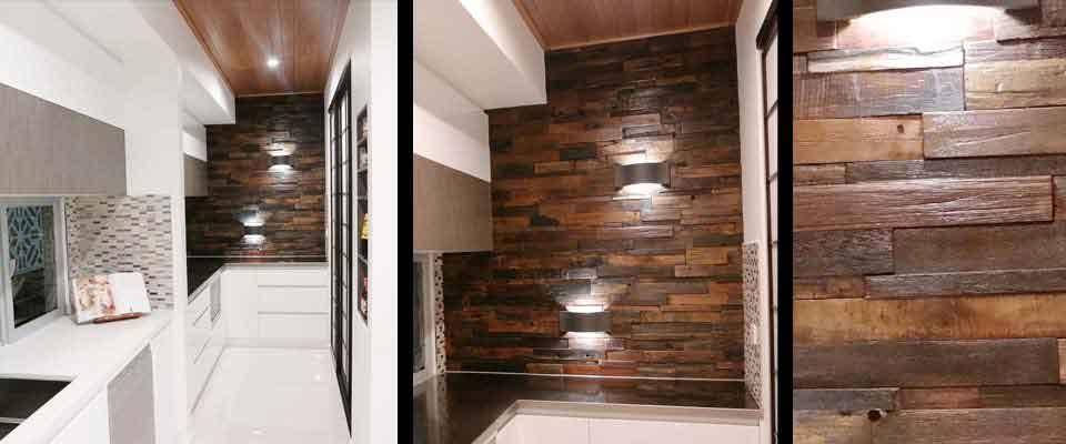 Stunning Kitchen Feature Wall | RUS 601 Interlock | Renaza Reclaimed Wooden Tiles